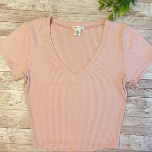 BOZZOLO light pink v-neck fitted top NEW!